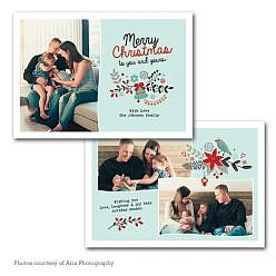 Merry Floral Holiday Card Template
