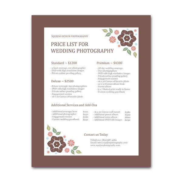 Pristik wedding pricing sheet homemarketing toolspricing sheets pristik wedding pricing sheet stopboris Image collections