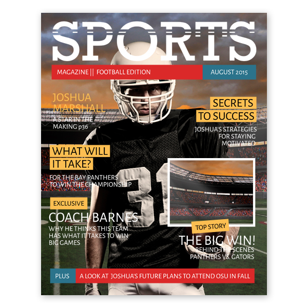 sports magazine cover template. Black Bedroom Furniture Sets. Home Design Ideas