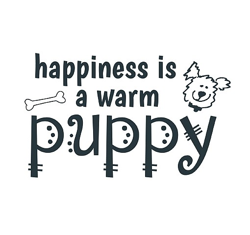 Happiness Puppy Word Art 1