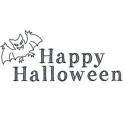 Happy Halloween Bat Word Art