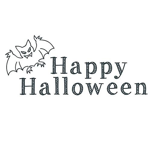 happy halloween bat word art 1