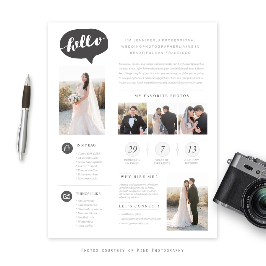 Moderna photographer bio template for Photography bio template