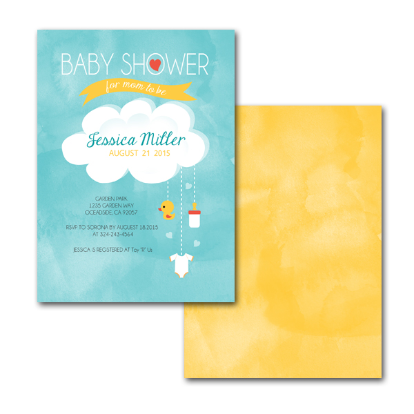 home occasions baby shower happy clouds baby shower card size 5 x 7