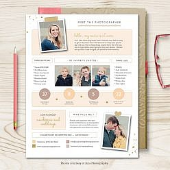 Repeat client gift customer contact for Photography bio template