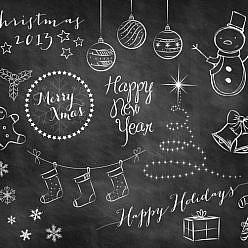 Holiday Doodle Chalkboard Overlays