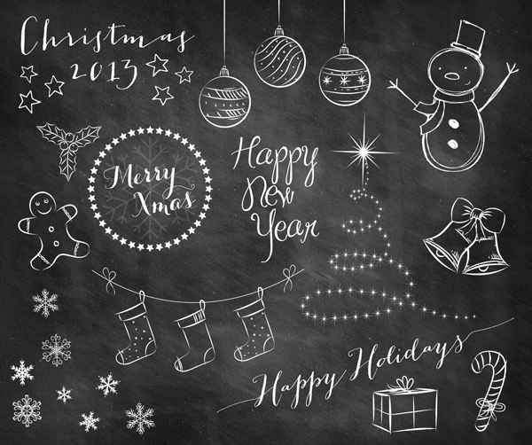Home Design Ideas Blackboard: Holiday Doodle Chalkboard Overlays