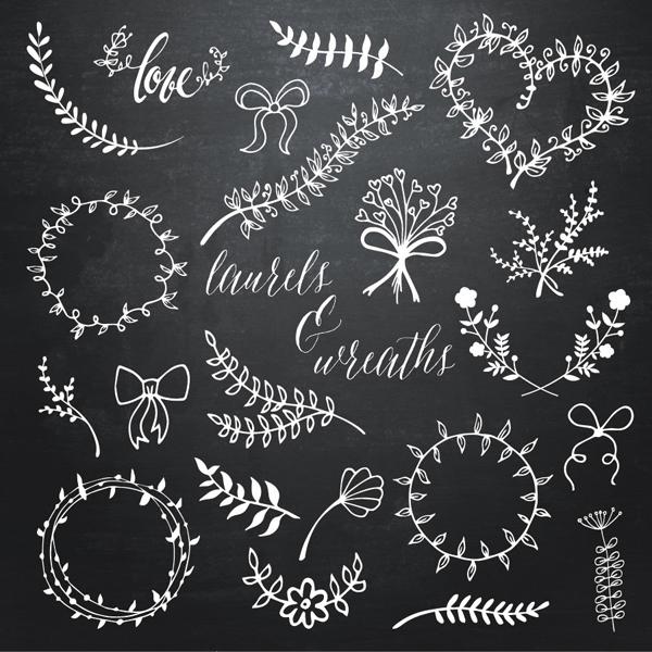 laurel  u0026 wreaths doodle overlays