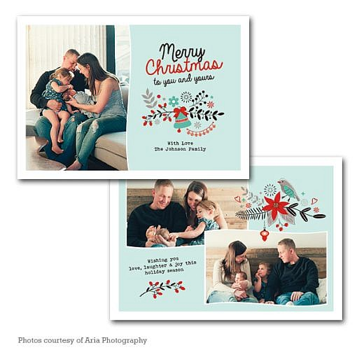 Merry Floral Holiday Card Template  1