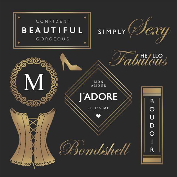 boudoir glamour word art overlays