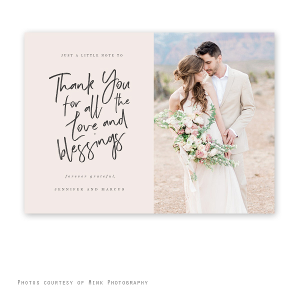 Love Blessings Wedding Thank You Card