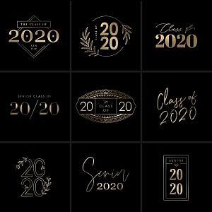 Gold Class Of 2020 Senior Wordart Overlays   Squijoo.com